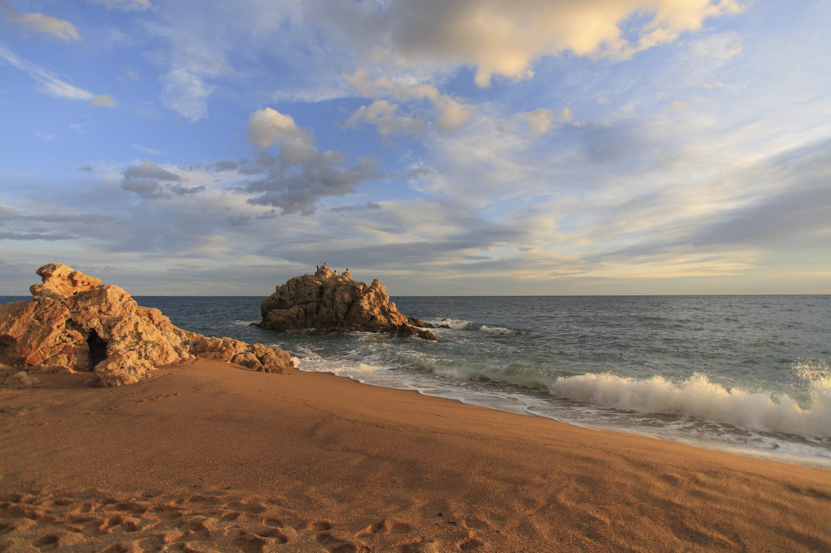 Sant Pol de mar, Roca grossa beach in Maresme, Barcelona, Spain